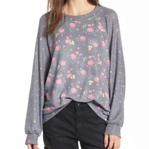 NWT. Wildfox Hazy Bloom Floral  Sweatshirt